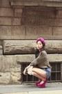 Magenta-heeless-jeffrey-campbell-wedges-blue-zara-shorts