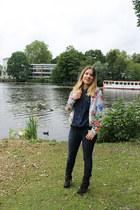 H&M jacket - Zara boots - Dr Denim jeans - denim H&M shirt