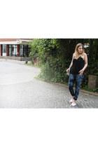tie-dye H&M jeans - H&M Trend top - DIY flats