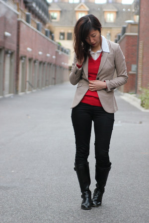 tan H&M blazer - red Old Navy sweater - white Forever 21 blouse