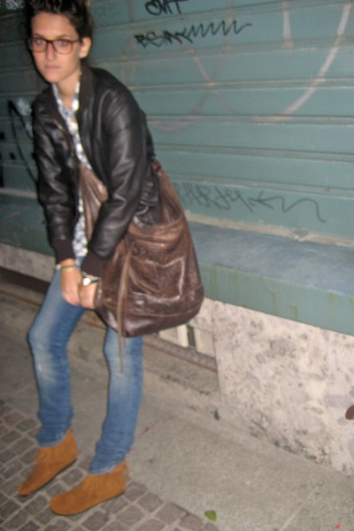 brown minnetinka shoes - brown jacket - brown balenciaga bag - white shirt - blu