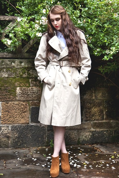beige trench coat Burberry coat
