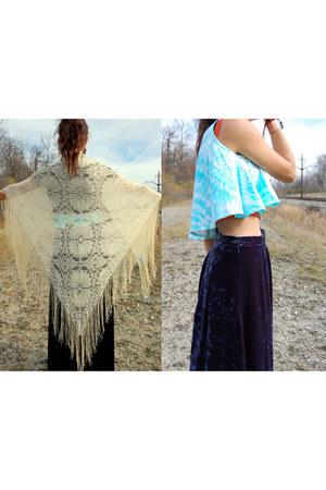 lace vintage scarf - vintage top - vintage skirt