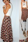 Crochet-vintage-shirt-vintage-skirt-antler-tip-handmade-necklace