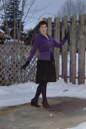 purple Mexx shirt - black Mexx dress - black Mexx belt - black Mexx gloves