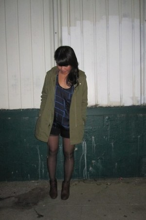 dark brown thrifted shoes - olive green ecote jacket - black thrifted shorts - U