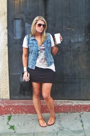 H&M bag - free people skirt - Gap vest - sam edelman sandals