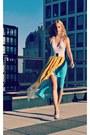 White-american-apparel-bodysuit-mustard-akira-skirt-white-aldo-heels
