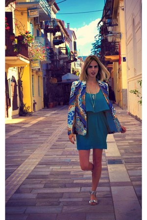 blue Marciano dress - blue Bar III blazer - white Aldo sandals