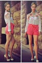 bubble gum PERSUNMALL blouse - bubble gum River Island shorts - white Aldo heels