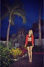 Red-h-m-blazer-black-forever-21-shirt-white-zara-shorts-black-zara-heels