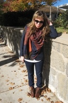 Cherokee blazer - Cost Plus scarf - abercrombie & fitch jeans - vintage boots -