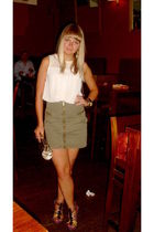 Topshop blouse - green H&M skirt - brown next shoes