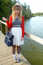 Dahlia dress - navy Topshop bag - red H&M cardigan - brown Matalan wedges