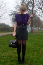 black jane shilton vintage bag - charcoal gray houndstooth vintage skirt - purpl