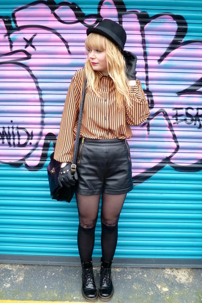 thrifted coat - H&M hat - striped vintage shirt - Primark tights - black leather
