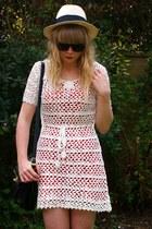 white crochet Forever 21 dress - red Topshop dress - Ebay sunglasses