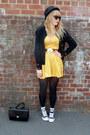 Black-converse-shoes-yellow-h-m-dress-black-h-m-hat-black-vintage-cardigan