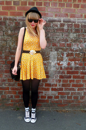 black Converse shoes - yellow H&M dress - black H&M hat - black vintage cardigan
