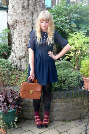 navy bow Dahlia dress