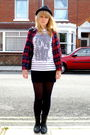 Black-garage-shoes-boots-red-topshop-shirt-white-topshop-top-black-h-m-dre