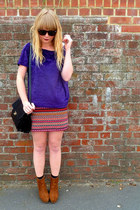 purple velvet next top - black vintage Jane Shilton bag