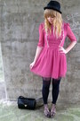 Pink-dahlia-dress-black-topshop-tights-black-vintage-bag-brown-leopard-lov