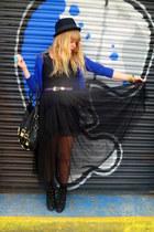 black next boots - black mesh Dahlia dress - black H&M hat - blue H&M cardigan