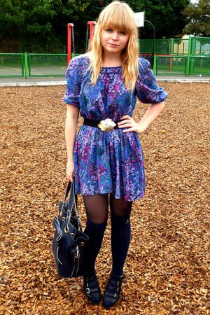 blue H&M dress - blue Primark socks - blue Topshop purse
