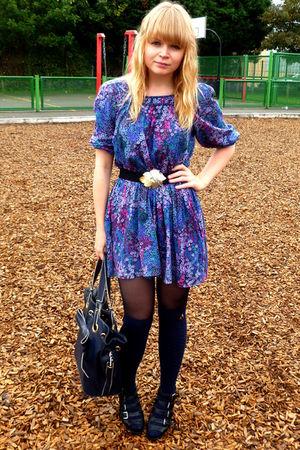blue H&M dress - blue Primark socks - blue Topshop purse