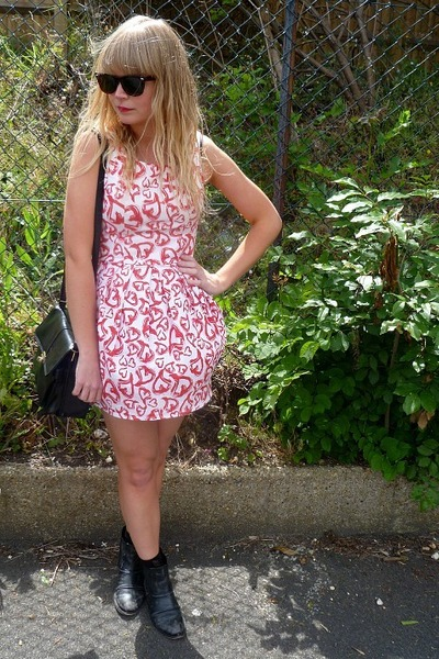 red thrifted Topshop dress - black chelsea asos boots