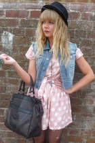 light pink Dahlia dress - dark brown vintage bag - light blue denim Henry Hollan