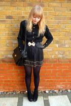 black vintage Jane Shilton bag - black vintage cardigan - black Forever 21 skirt