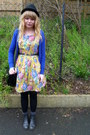 Black-asos-boots-yellow-floral-dahlia-dress-blue-h-m-cardigan