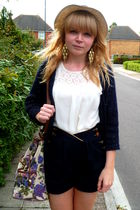 H&M cardigan - River Island shorts - asos bag - Topshop blouse