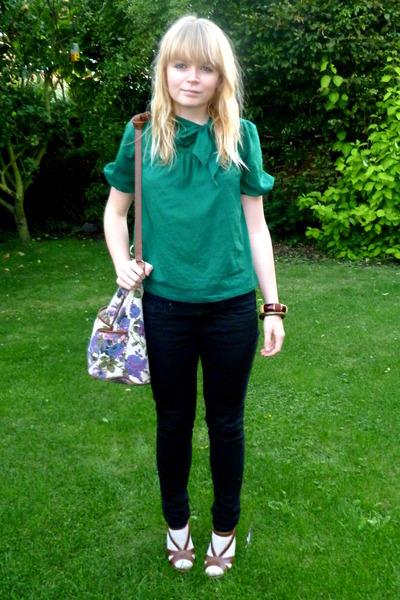 green H&M blouse - black Topshop jeans - asos purse - brown Matalan shoes - beig