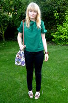 green H&M blouse - black Topshop jeans - asos purse - brown Matalan shoes - beig