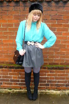 asos coat - jane shilton vintage bag - faux leather H&M skirt - vintage blouse