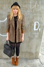 Brown-vintage-blazer-green-h-m-cardigan-black-random-dress-tawny-bamboo-sh