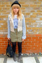 beige Topshop jacket - Topshop top - green H&M skirt - gray Matalan boots - blac