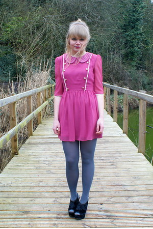 bubble gum Dahlia dress - periwinkle asos tights - black velvet next wedges