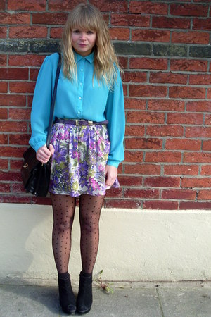 black velvet vintage coat - floral River Island skirt