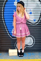 pink Dahlia dress - nude vintage Jane Shilton bag - black velvet next wedges