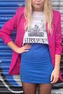 Black-h-m-hat-blue-topshop-dress-hot-pink-vintage-blazer