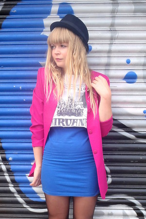 blue Topshop dress - black H&M hat - hot pink vintage blazer