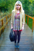camel vintage blazer - Topshop dress - red Topshop dress - brown tights - teal a