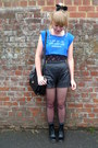Black-leather-topshop-shorts-black-lace-asos-top-sky-blue-frankie-the-hear