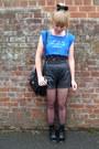 Black-leather-topshop-shorts-black-lace-asos-top-sky-blue-frankie-the-hear
