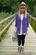 purple vintage blazer - Topshop blouse - asos purse - black asos shoes - black n
