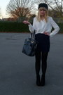 White-vintage-blouse-navy-topshop-skirt-blue-topshop-purse-black-bhs-hat-